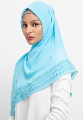 KASHKHA blue Hijab Chiffon Lace Stone Work Logo 1F490AA7FE8B1FGS_1