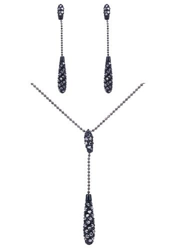 SO SEOUL black Glimmering Jet Black Swarovski® Crystals Stud Earrings and Necklace Set 91A9EAC0EF3DD4GS_1