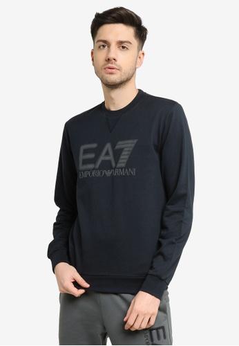 EA7 navy Train Visibility Sweatshirt 5984EAA4BF11B4GS_1