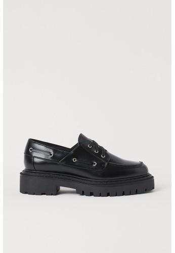 H&M black Chunky low-heeled shoes 44FA0SH7206EDBGS_1