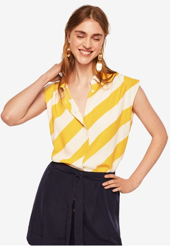 Mango yellow Flowy Striped Blouse 2B6ADAA174E37FGS_1