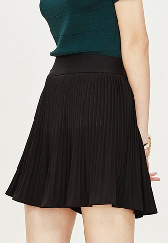 Hopeshow black Pleated Mini Skirt CC8D5AA36AD897GS_1