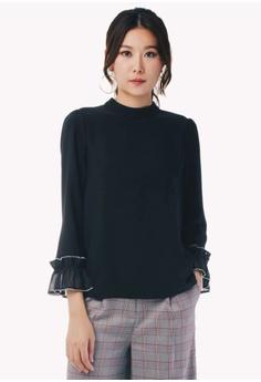 921b3d5eafb441 Nichii black Scallop Trim Sleeve Blouse C6C39AA716A559GS_1