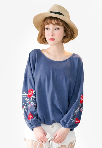 Tokichoi blue Embroidered Floral Sweater D9FCBAA94FF654GS_1