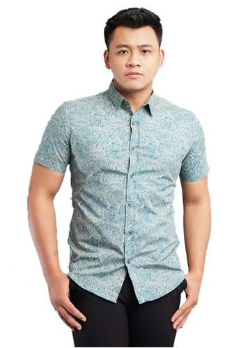 UA BOUTIQUE green Short Sleeve Shirt Batik SSB117-071 (Green) 24D71AA84FC6A0GS_1