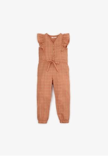 Gingersnaps brown Girls Checkered Drawstring  Jumpsuit ACD76KA2F2014EGS_1