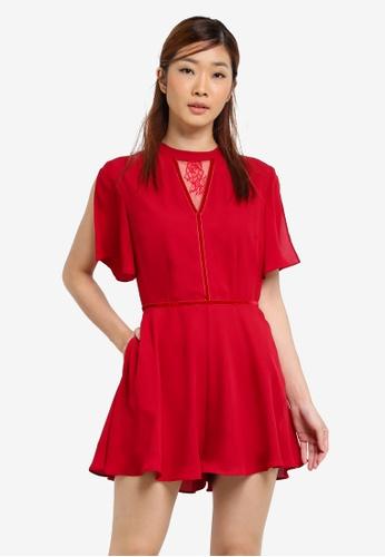Something Borrowed red Lace Panel Slit Sleeve Romper 9B076AAEA62886GS_1