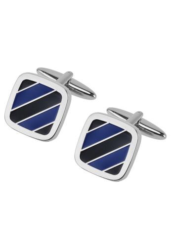 CUFF IT blue Blue Tone Diagonal Stripe Cufflinks CU047AC21ZSOHK_1