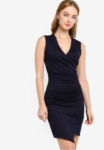 ZALORA WORK 海軍藍色 褶飾緊身洋裝 6619AAAB5BCE6AGS_1