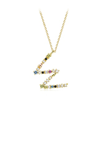 Glamorousky silver 925 Sterling Silver Plated Gold Fashion Simple Color English Alphabet W Pendant with Cubic Zirconia and Necklace E2199ACFC1CAFBGS_1