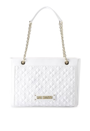 Love Moschino white Quilted Diamond Chain Tote Bag DBEF4ACCAC3BDBGS_1