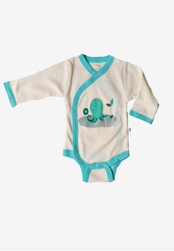 Babysoy white Long Sleeve Kimono Bodysuit Octopus 0B58AKABBA1ED1GS_1
