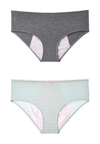 6IXTY8IGHT grey Period Cotton Panty Set - Text and Stripe Placement PT10106 BAA9DUSACAF6DBGS_1