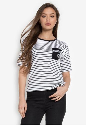 RRJ black and white Round Neck Drop Shoulder Stirke Series' I Am Striker Tee RR205AA0KEZ6PH_1