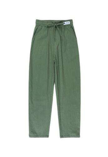 Zafiti green Women's Elastic Waist Loose Cropped Long Pants - Green D4FAAAA0066647GS_1