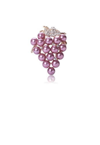 Glamorousky purple Simple and Sweet Plated Gold Grape Purple Imitation Pearl Brooch with Cubic Zirconia C02AAAC514D345GS_1