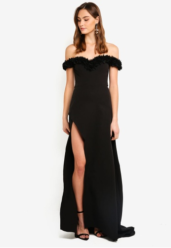2e203cfc5654 Elle Zeitoune black Off Shoulder Gown With Ruffled Detail And High Split  4BFDFAAC7100C2GS 1