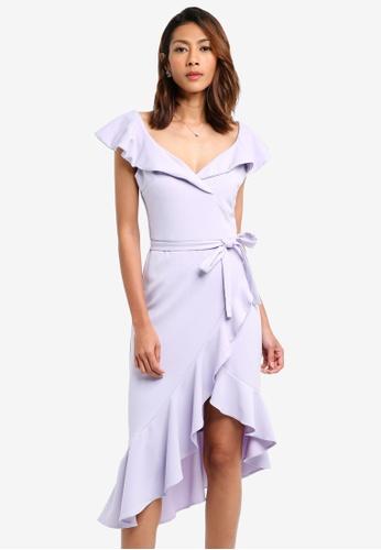Goddiva purple Asymmetric Frilled Hem Midi Dress A1D1AAA82CFB85GS_1
