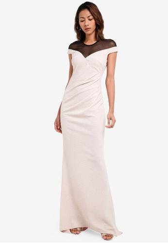 Goddiva multi Pleated Glitter Maxi Dress With Mesh Detail BBCF7AA6B31EABGS_1