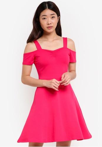 Dorothy Perkins pink Pink Cold Shoulder Dress DO816AA77SVMMY_1