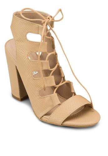 Perla 多帶鏤空粗跟涼鞋, esprit hk outlet女鞋, 鞋