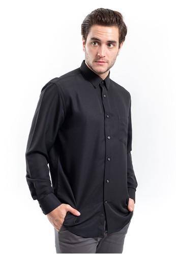 MANLY black MANLY Leonel Black Regular Fit Striped Shirt Long Sleeve Plain 668C7AAF6C99A7GS_1