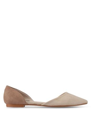 ZALORA 褐色 雙色氣質平底鞋 55D91SHE7C6D4BGS_1