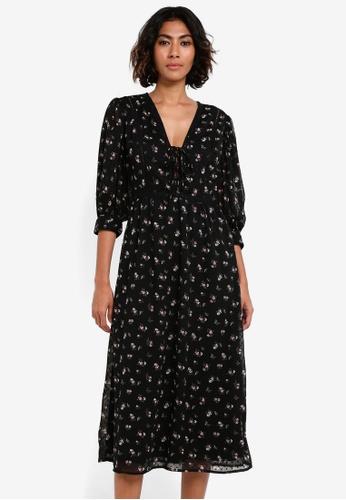 TOPSHOP black Lattice Flower Midi Dress TO412AA0RSN6MY_1