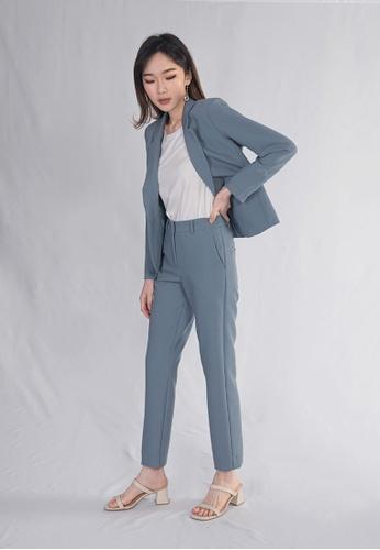 BEBEBEIGE blue BebeBeige Stylish Blazer Coat/Jackets With Pants One Set E3742AAE68E8B9GS_1