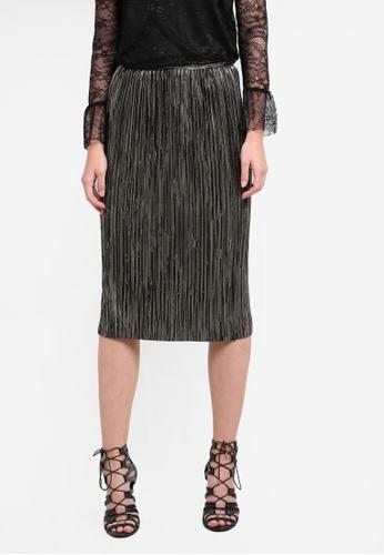 WAREHOUSE gold Foiled Plisse Skirt WA653AA0S23AMY_1