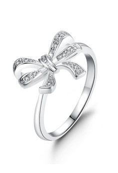 18k White Gold Plated Sweet Ribbon Ring (Size 7)