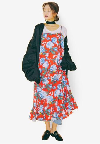 esprit台灣官網荷葉擺玫瑰細肩帶連身裙, 韓系時尚, 梳妝