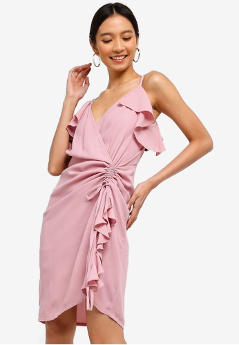 ZALORA pink Ruched Ruffles Dress A526EAAD4295E0GS_1