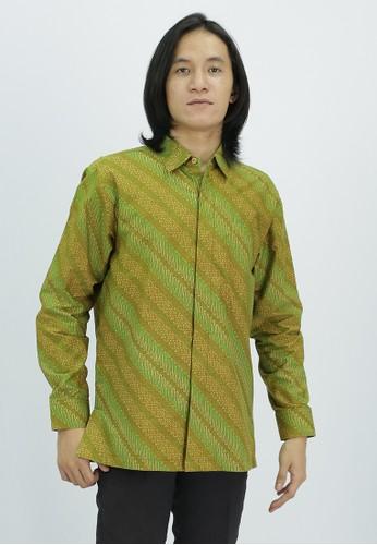 House of Kain green Kemeja Batik Katun Parang B211FAACB588E3GS_1
