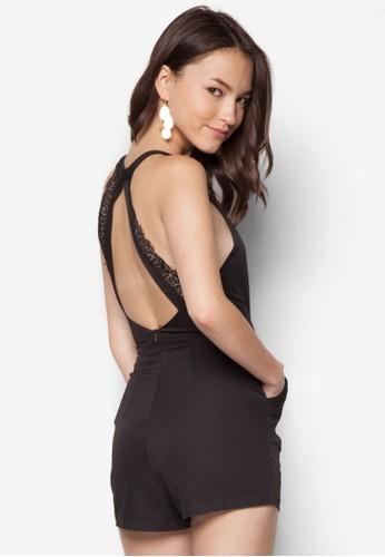 蕾絲肩帶挖背連身褲, 服飾, 連zalora 包包評價身褲