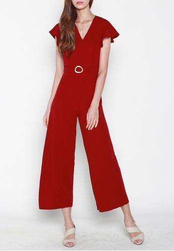 JOVET red Flare Sleeved Jumpsuit 6B9E3AAB20AB4BGS_1