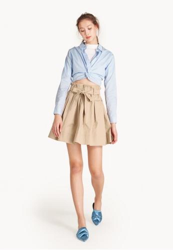 Pomelo beige Midi Paperbag Pleated Skirt - Beige 70CF6AAFF603FBGS_1