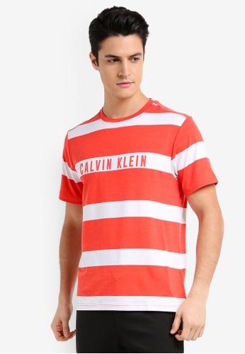 Calvin Klein red Stripe Print Short Sleeve Tee - Calvin Klein Performance F2D35AA82A762DGS_1