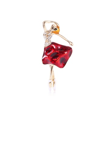Glamorousky white Fashion and Elegant Plated Gold Red Skirt Dance Brooch with Cubic Zirconia CBD6CACE5F5B82GS_1