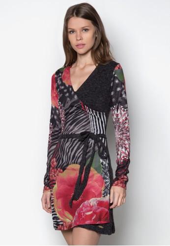Asu zalora時尚購物網評價印花裹式長袖連身裙, 服飾, 短洋裝