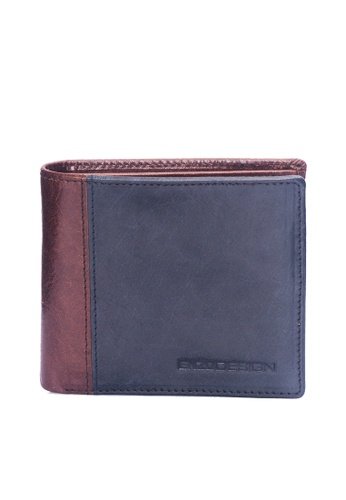 ENZODESIGN brown and multi and navy Fine Buffalo Leather Slim Bifold With 14 Card slots and Flipover I.D. Windows EN115AC37ZUWPH_1