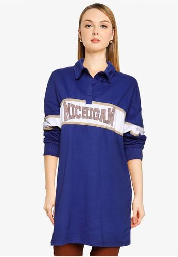 Public Desire blue Michigan Polo Shirt Dress 16C31AAD307281GS_1