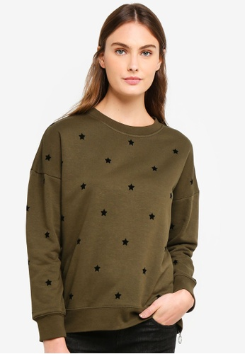 OVS green Star Patterned Sweatshirt With Zip B4C6EAAC045D1EGS_1