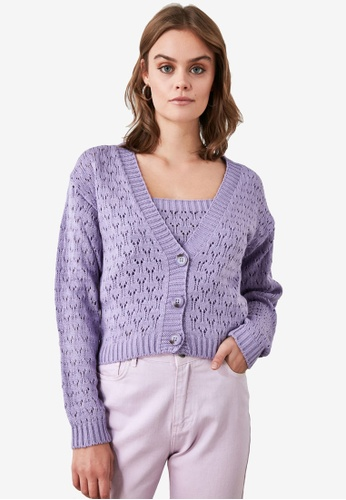 Trendyol purple Open Knit Cami and Cardigan Set 29D8CAA5BAA513GS_1