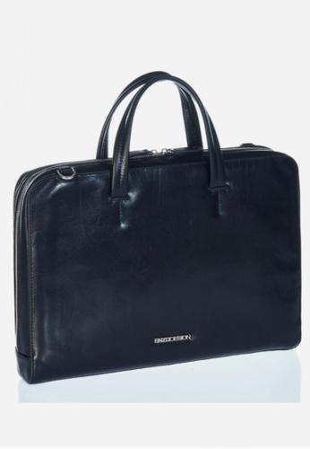 "ENZODESIGN black Italian Leather 15"" Laptop Slim Brief EN880AC15LOAHK_1"