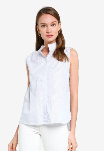 Banana Republic blue Poplin Sleeveless Shirt 10724AA56A79D4GS_1