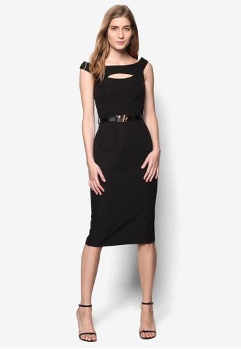 露肩鏤空腰帶連身esprit outlet裙, 服飾, 服飾