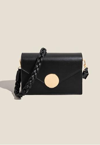Lara black Women's Magnetic Metal Buckle Leather Flap Cross-body Bag - Black F2941AC910F01CGS_1