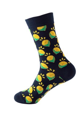 Kings Collection black Lemon Pattern Cozy Socks (One Size) HS202252 C377DAA01CD591GS_1