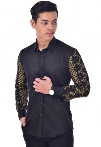 UA BOUTIQUE black Long Sleeve Shirt-UA1010KL (Black/ Gold) UA752AA0SLLLMY_1